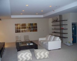 Basement recessed lights & shelves