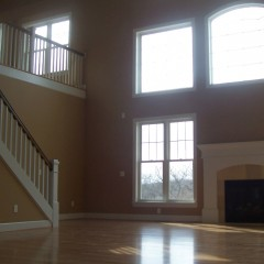 Custom home interior great room with fireplace