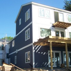 Exterior back from lake in progress